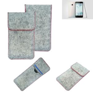 Copertura-in-feltro-p-HTC-U-Play-grigio-chiaro-bordo-rosso-Custodia-tasca-borsa