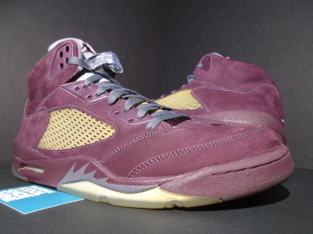 NIKE AIR JORDAN V 5 GREY RETRO LS BURGUNDY ROT GREY 5 BLACK SILVER 314259-602 OG 14 56f8c5