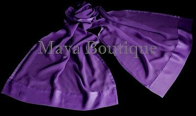 Purple Chiffon Silk Scarf Wrap Sash Satin Border Maya Matazaro /& Gift Box NWTP