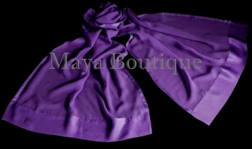 Purple Chiffon Silk Scarf Wrap Sash Satin Border Maya Matazaro /& Gift Box NWTP