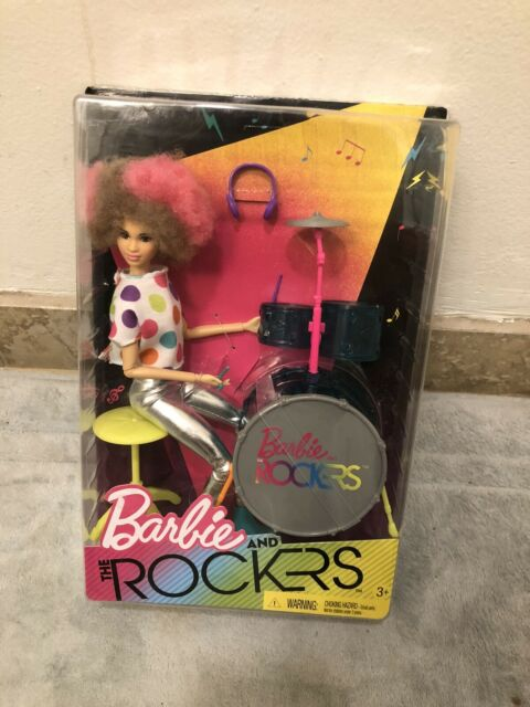 Barbie and the Rockers Doll and Drum Set 2017 Drummer Pink Tan Afro Limited New
