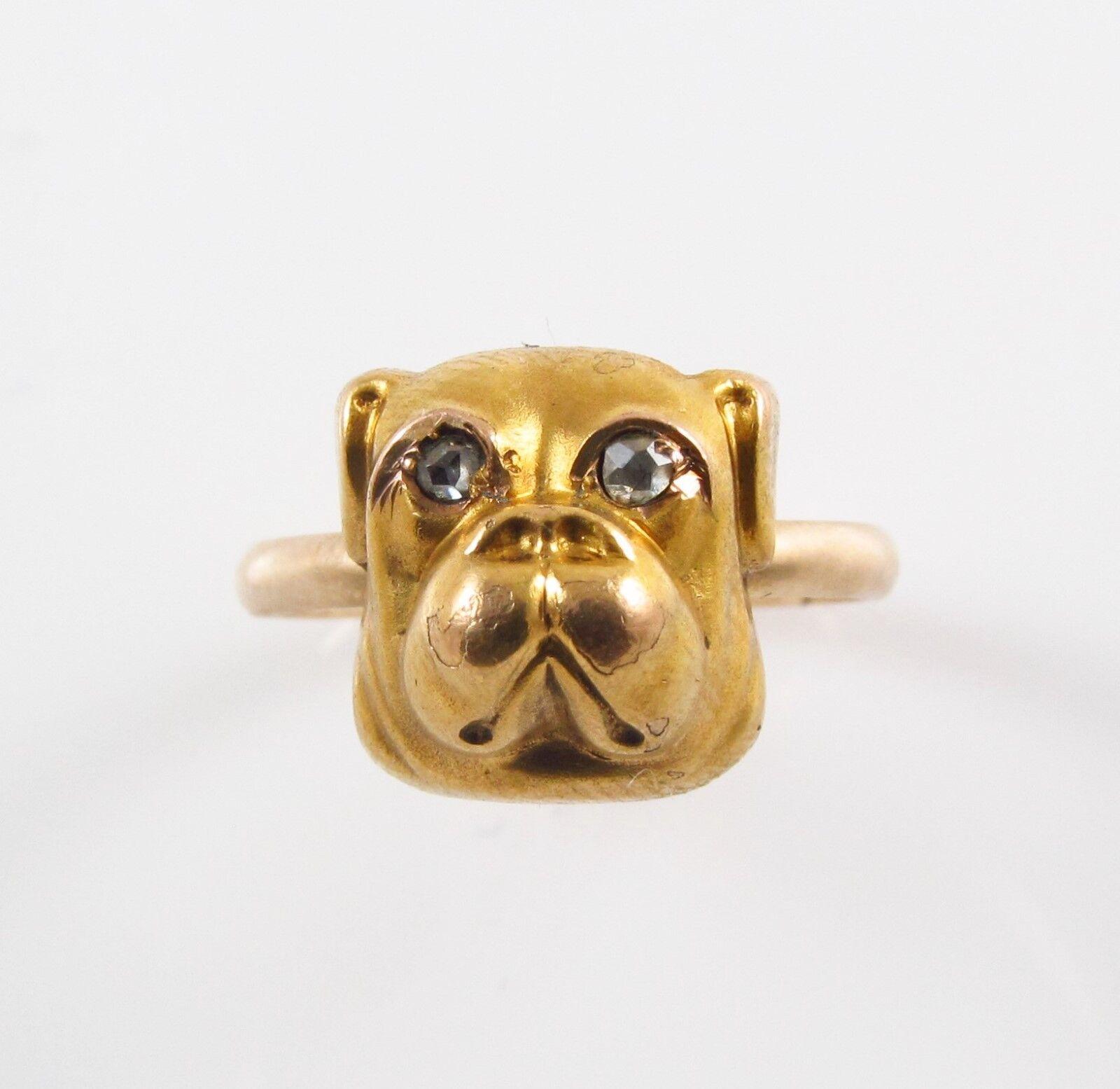 14k gold Victorian Art Nouveau Diamond Eyed Bulldog Conversion Ring Size 6