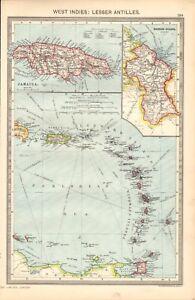 1907-LARGE-ANTIQUE-MAP-WEST-INDIES-LESSER-ANTILLES-LEEWARD-WINDWARD