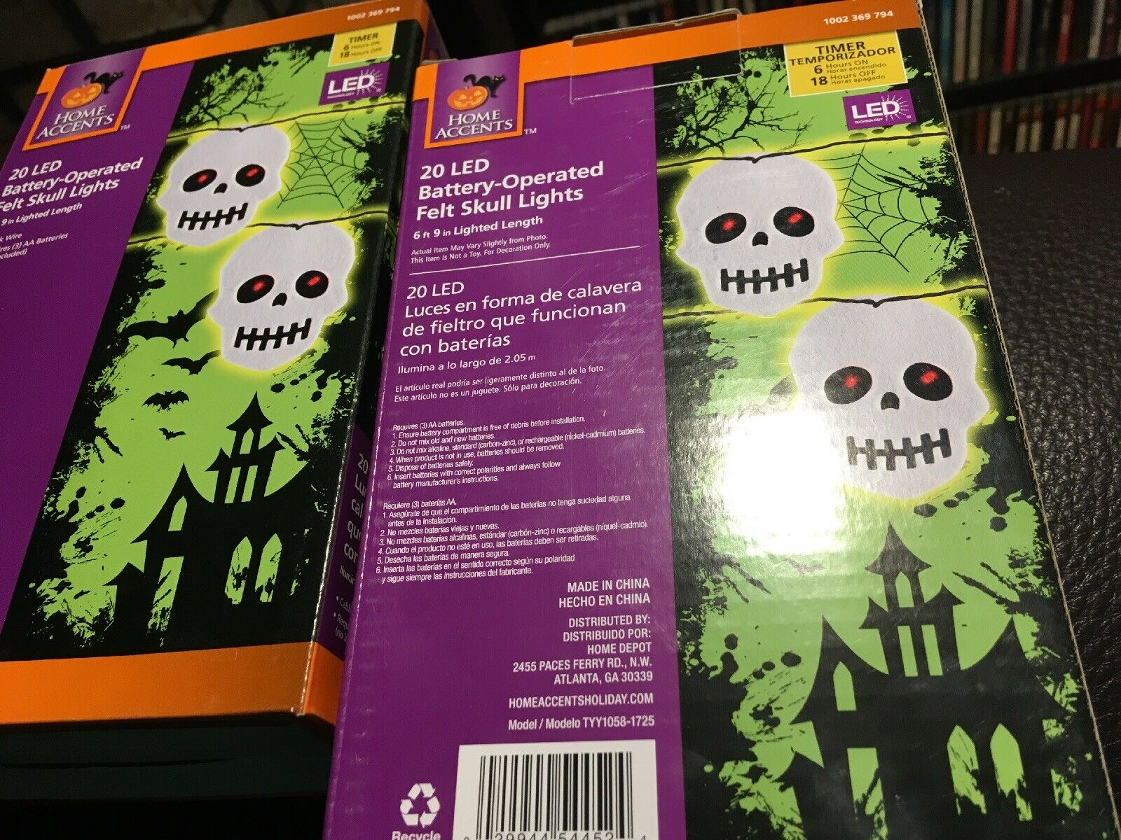 Home Accents Halloween 9 ft Lighted Length with 36-Light LED white skulls