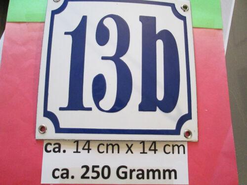 5b blaue Zahl auf weißem Hintergrund 14 cm x 14 cm ..... Emaille-Hausnummer Nr