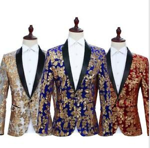 longues à occidental hommes Manteaux style manches Photos brillants Studio Manteau Un bouton Sequins pour Y7ybg6f