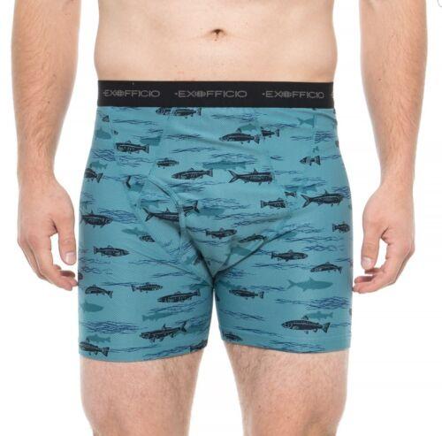 ExOfficio Give-N-Go Printed Boxer Brief Underwear Blue Tarpon Mens L Or XL NWT