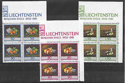 I454 Liechtenstein/ Gemälde-obst Minr 990/92 ** Viererblock Liechtenstein