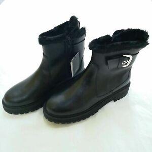 ZARA Black leather Fur Lined Ankle