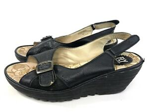 Fly-London-Womens-Sling-Back-Peep-Toe-Black-Leather-2-Wedge-Sandals-Size-10-5