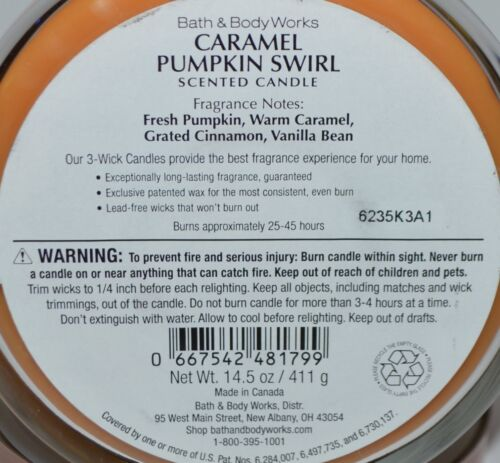 NEW BATH /& BODY WORKS CARAMEL PUMPKIN SWIRL SCENTED CANDLE 3 WICK 14.5 OZ LARGE