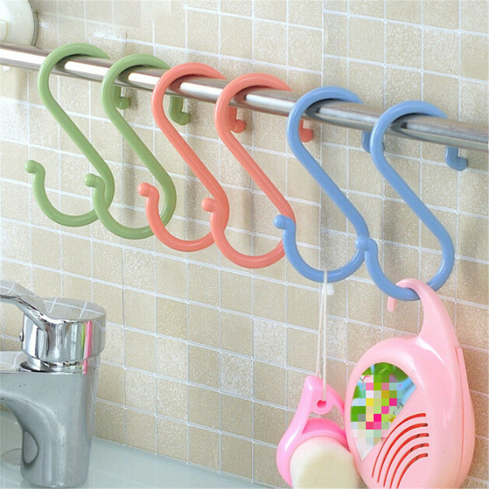 1Set S-shaped towel rack kitchen bathroom nail hooks wardrobe clothes holderYH