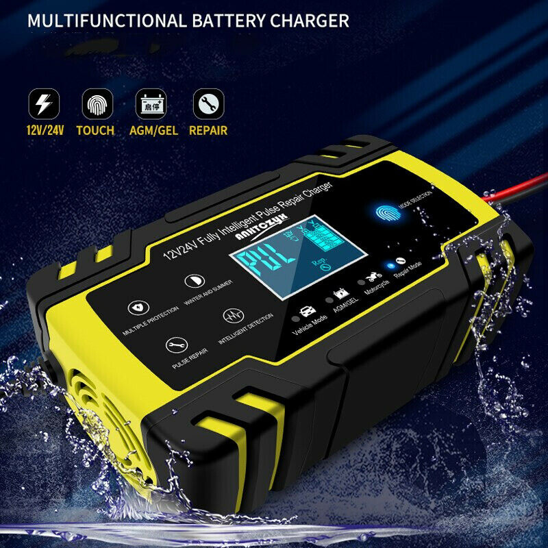 12V-24V 8A Full Automatic Cars Batterys Chargers Power Pulse Repair Chargers