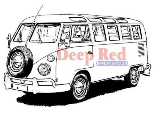 Deep Red Stamps VW Bus Rubber Cling Stamp
