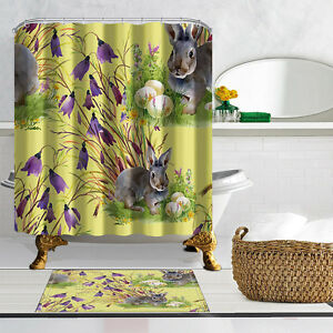 Image Is Loading Happy Easter Bunny Shower Curtain Bathroom Polyester Fabric