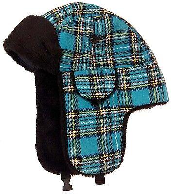 Winter Russian Ushanka Trooper TRAPPER Ski Hat Women Men Plaid Faux Fur Hat cap