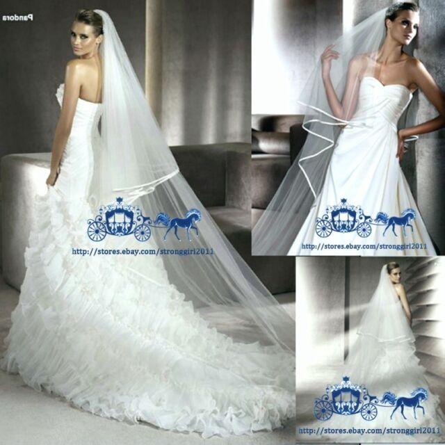 NEW 3M 2T white or ivory wedding dress Bridal veil+comb The bride wedding veil