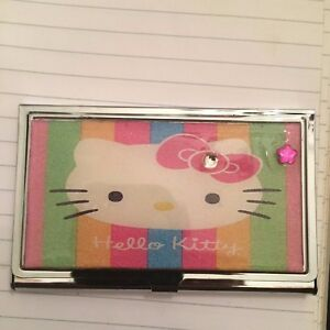 Pink hello kitty flower business card holder credit card case ebay image is loading pink hello kitty flower business card holder credit reheart Images