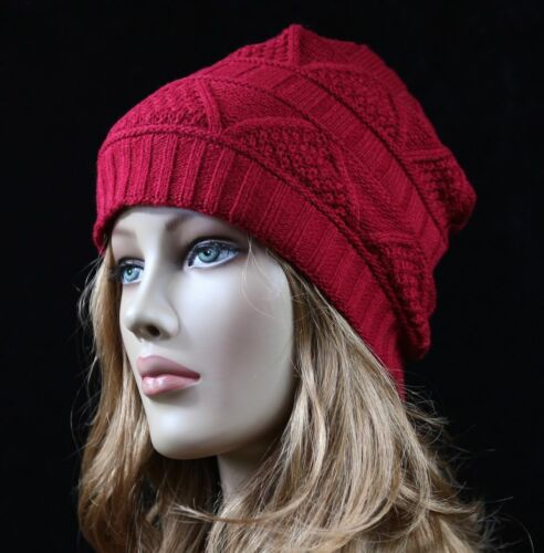 Design Beanie Warm Thermal Camping Solid Slouch Hat Knit Cap Ski Winter Unisex