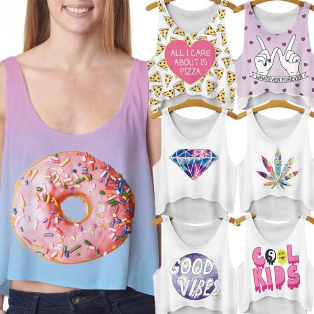 Sexy Summer Casual Women Cookie Heart Tank Top T-Shirt Blouse Cartoon Vest