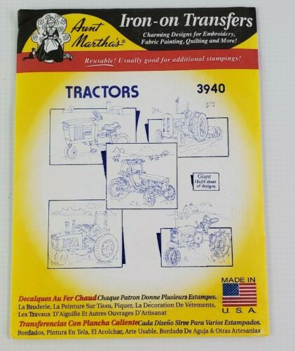 "Iron On Giant 18/"" x 24/"" sheet of designs #3940 Aunt Martha/'s TRACTORS"