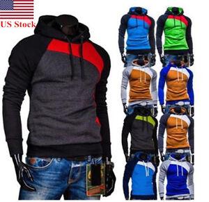Mens Slim Fit Hoodie Casual Hooded Coat Sweatshirt Sweater Sports Outwear Tops