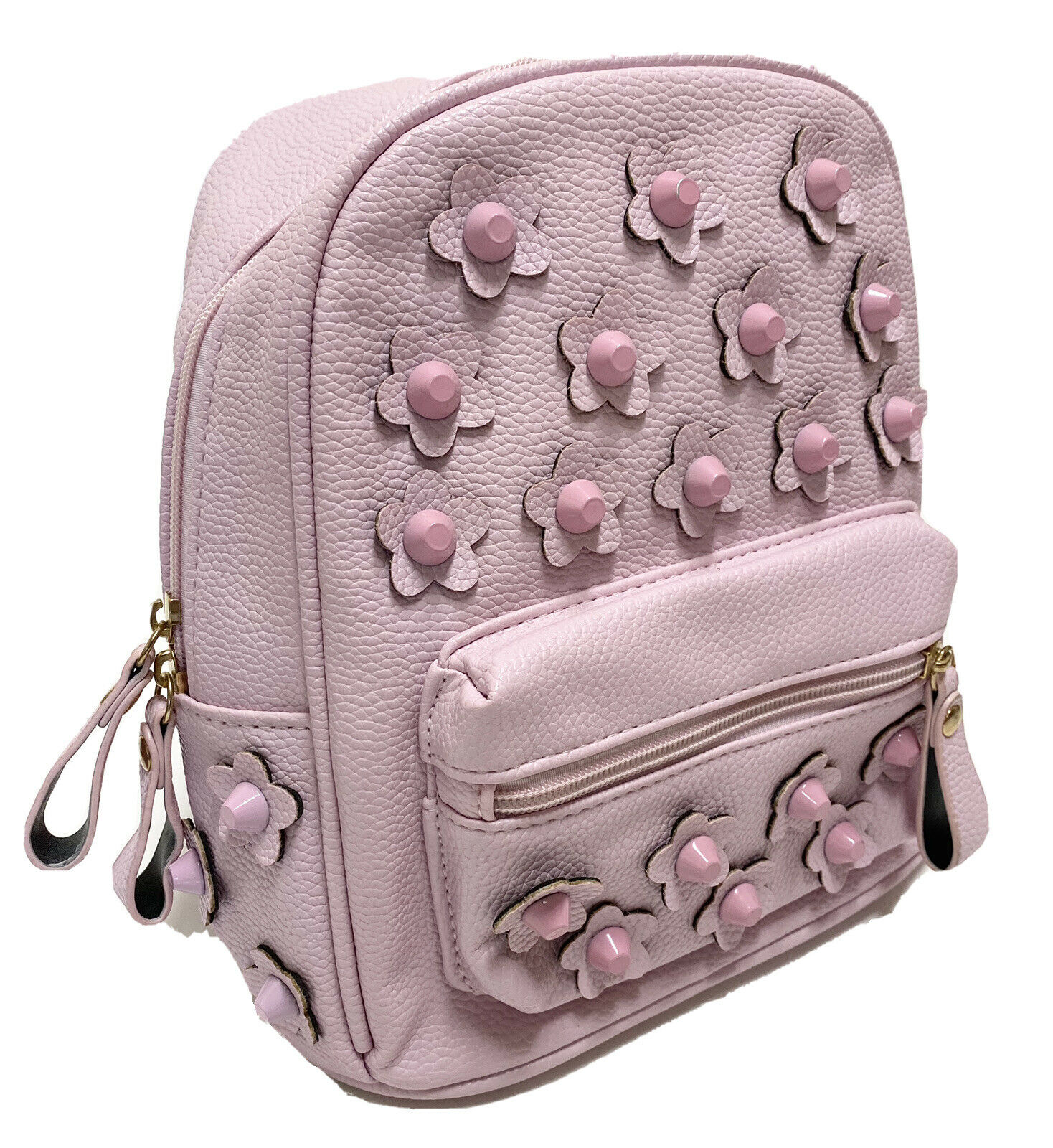 Pink Faux Leather And Studded Flower Backpack Purse Bag Medium