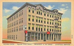 LOUISVILLE-KY-VICTORIA-HOTEL-BROADWAY-AT-10th-1943-POSTCARD