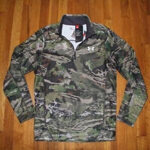 NEW-Under-Armour-Zephyr-1-4-Zip-Fleece-Forest-Camo-Men-039-s-Small-1316863-940