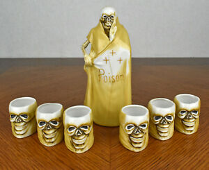 VTG-Grim-Reaper-Skull-Skeleton-Sake-Decanter-Poison-Bottle-amp-Six-Shot-Glass-Set