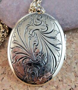 Vintage-Art-Nouveau-Leaf-Large-Gold-Tone-Locket-Pendant-28-034-Chain-Necklace-156