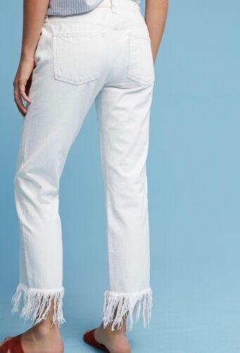 NEW Anthropologie Pilcro Fray Fringed Straight Leg Jeans in White