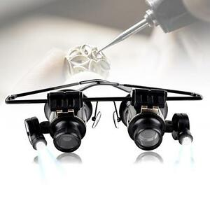 1x-Binocular-Glasses-Type-20X-Watch-Jewellery-Repair-Magnifier-with-LED-Light-PQ