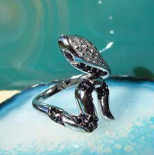 Ring Schlange weiß schwarz Sterling Silber 925 mit funkelndem Zirkonia Gr 19