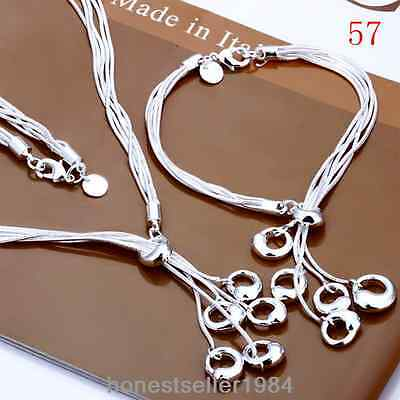 SILVER JEWELERY CHAIN NECKLACE PENDANT 925EARRING RING BRACELET BANGLE SET + BOX
