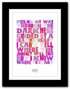 avicii wake me up song lyrics typography poster art print a1