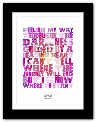 Avicii Wake Me Up Lyrics Wall Art Vinyl Sticker Music Notes
