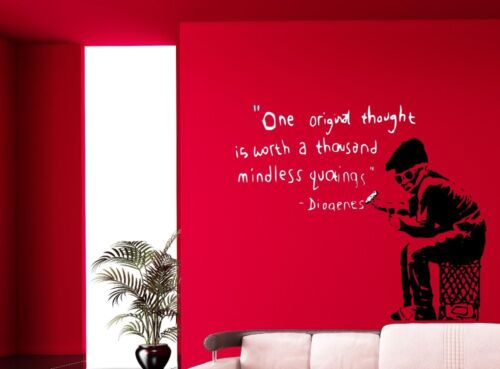 Banksy Graffiti One original thought is worth. Wall Stickers Decal 80cm x 70cm