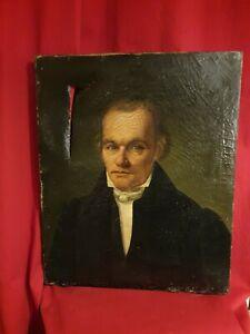 Ancien-portrait-d-039-homme-huile-sur-toile-XIX-eme-s
