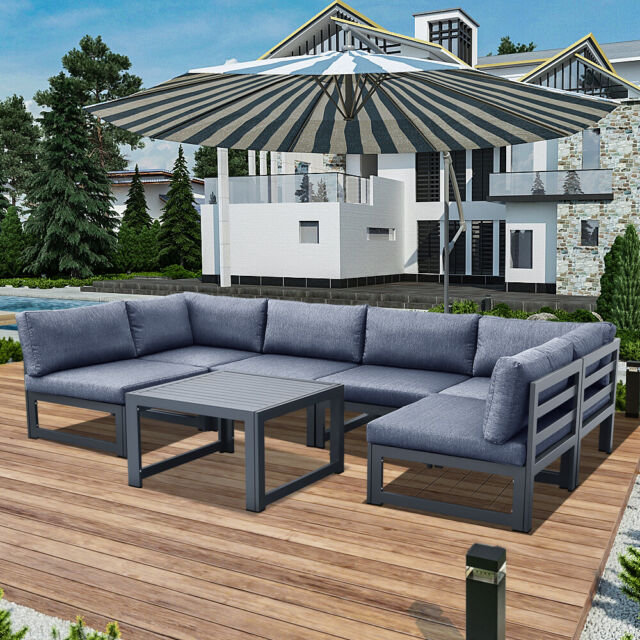 Patio Set Fire Pit Outdoor Sectional, Dineli Patio Furniture Sectional Sofa With Gas Fire Pit Table Outdoor