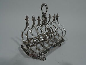 William-IV-Toast-Rack-Antique-Regency-Gothick-English-Sterling-Silver-Fox