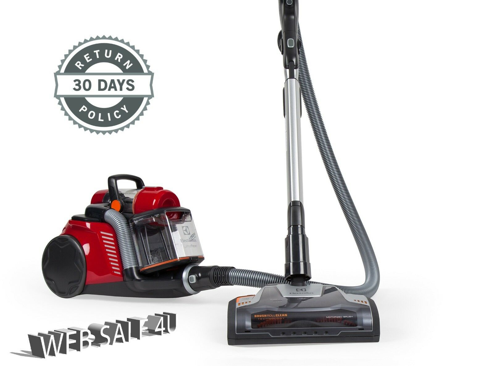 Canister Vacuum Cleaner Bagless HEPA Filter Carpet Electrolux® Cyclonic™ Rewind