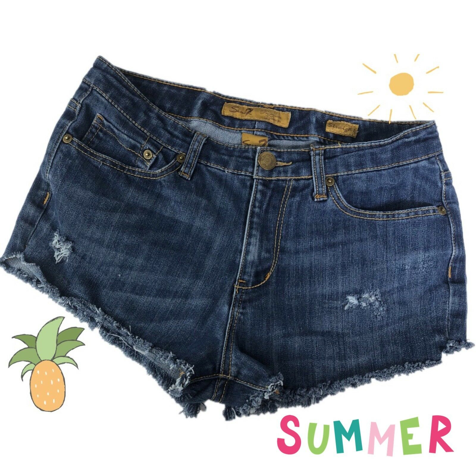 Authentic Women's Seven7 7 For All Mankind bluee Jean Denim Shorts Size 6  B28