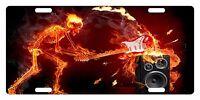 Rock & Roll Custom License Plate Music Emblem Skull Fire Version