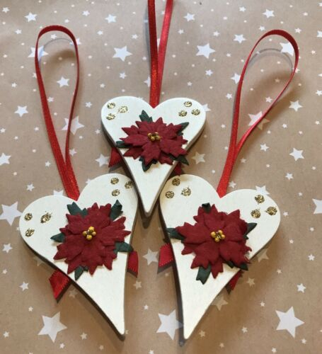 3 X Poinsettia Christmas Tree Decorations Shabby Chic Real Wood Red Gold