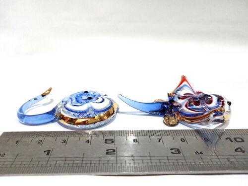 2 Manta Ray Fish Figurine Animal Blown Glass Art 22k Gold Collectible Gift Decor