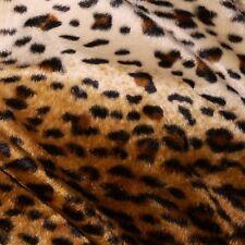 Brown & Cream Cheetah Leopard Print Velboa Faux Fur Fabric (Per Metre)
