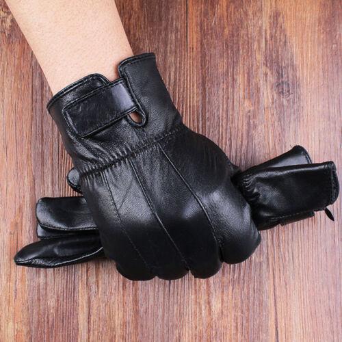 Men Windproof Waterproof Touch Screen Leather Gloves Winter Fleece Mittens Black