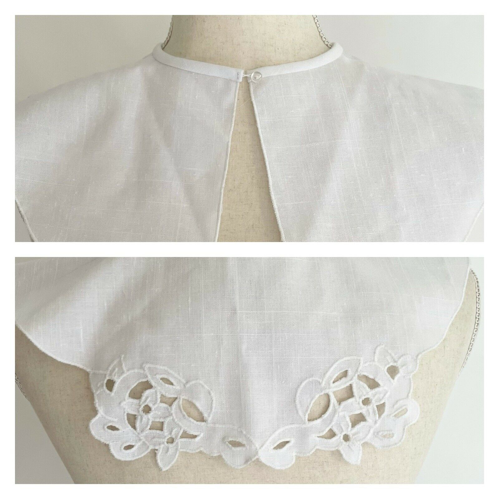 Antique Vintage White Cotton Collar Broderie Anglaise Eyelet Girl Small Women