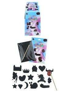 Rainbow Scratch Art Sticker Pack Kids Childrens Craft Kit Party Bag Toy Filler